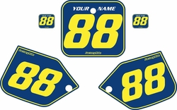 Fits Honda CR250 1987 Blue Pre-Printed Backgrounds - Yellow Pinstripe by FactoryRide