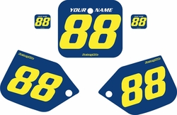 Fits Honda CR250 1987 Blue Pre-Printed Backgrounds - Yellow Numbers by FactoryRide