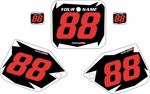 1987 Honda CR250 Pre-Printed Backgrounds Black - White Shock - Red Numbers by FactoryRide
