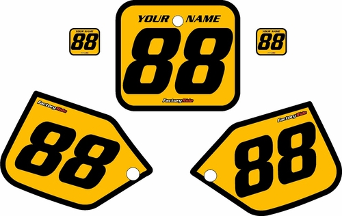 1987 Honda CR250 Pre-Printed Backgrounds Yellow - Black Bold Pinstripe by FactoryRide