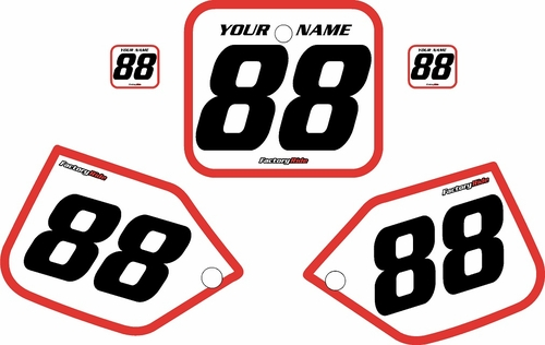 1987 Honda CR250 Pre-Printed Backgrounds White - Red Bold Pinstripe by FactoryRide
