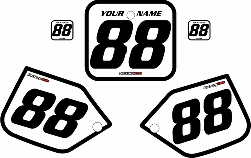 1987 Honda CR250 Pre-Printed Backgrounds White - Black Bold Pinstripe by FactoryRide
