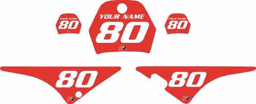1996-2013 Yamaha PW80 Pre-Printed Backgrounds Red - White Numbers by FactoryRide