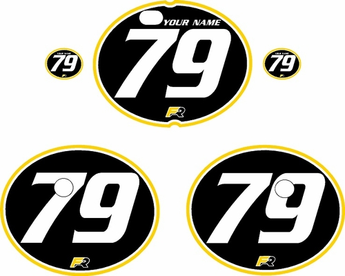 1979-1980 Suzuki RM250 Black Pre-Printed Backgrounds - Yellow Pro Pinstripe by FactoryRide