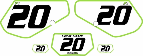 1991-1994 Kawasaki KDX250 Custom Pre-Printed Background White - Green Bold Pinstripe by Factory Ride