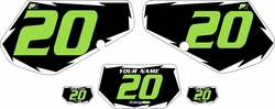 1991-1994 Kawasaki KDX250 Pre-Printed Black Background - White Shock Series - Green Number by Factory Ride