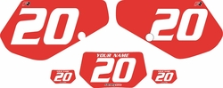 1991-1994 Kawasaki KDX250 Custom Pre-Printed Background Red - White Numbers by Factory Ride