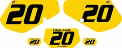 1991-1994 Kawasaki KDX250 Custom Pre-Printed Background Yellow - Black Numbers by Factory Ride