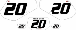 1991-1994 Kawasaki KDX250 Custom Pre-Printed Background White - Black Numbers by Factory Ride