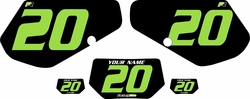 1991-1994 Kawasaki KDX250 Custom Pre-Printed Background Black - Green Numbers by Factory Ride
