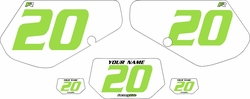 1991-1994 Kawasaki KDX250 Custom Pre-Printed Background White - Green Numbers by Factory Ride
