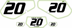 1991-1994 Kawasaki KDX250 Custom Pre-Printed Background White - Green Pinstripe by Factory Ride