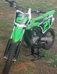 2014-2019 KX85 Decals - Black with White Shock & Green Number