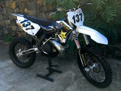 2009 KTM SX White with Black Numbers Background Decals