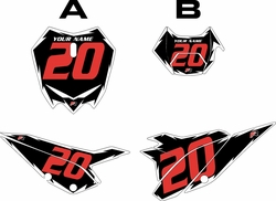 2020 Beta RR125 Black Pre-Printed Backgrounds - White Shock - Red Number by FactoryRide