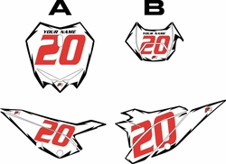 2020 Beta RR125 White Pre-Printed Backgrounds - Black Shock - Red Number by FactoryRide