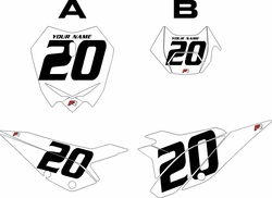 2020 Beta RR125 White Pre-Printed Backgrounds - Black Numbers by FactoryRide