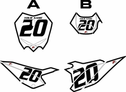 2020 Beta RR125 White Pre-Printed Backgrounds - Black Bold Pinstripe by FactoryRide