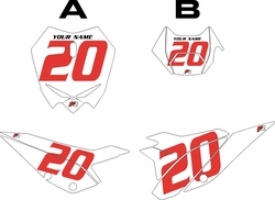 2020 Beta RR125 White Pre-Printed Backgrounds - Red Numbers by Factory Ride