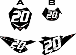 2020 Beta RR125 Black Pre-Printed Backgrounds - White Numbers by FactoryRide
