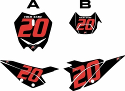2020 Beta RR125 Black Pre-Printed Backgrounds - Red Numbers by FactoryRide