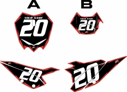 2020 Beta RR125 Black Pre-Printed Backgrounds - Red Shock by FactoryRide