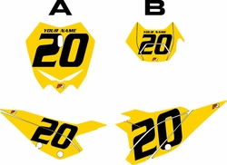 2020 Beta RR125 Yellow Pre-Printed Backgrounds - Black Numbers by FactoryRide