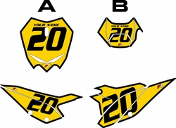 2020 Beta RR125 Yellow Pre-Printed Backgrounds - Black Bold Pinstripe by FactoryRide
