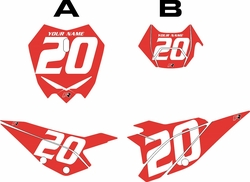 2020 Beta RR125 Red Pre-Printed Backgrounds - White Numbers by FactoryRide