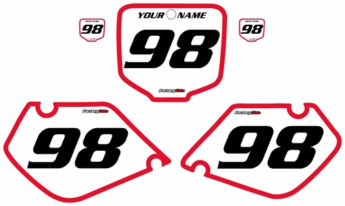 1997-1999 Honda CR250 Pre-Printed Backgrounds White - Red Bold Pinstripe by FactoryRide