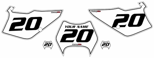 1997-2005 Kawasaki KDX220 White Pre-Printed Backgrounds - Black Pinstripe by FactoryRide