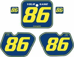 Fits Honda CR250 1985-1986 Blue Pre-Printed Backgrounds - Yellow Pinstripe by FactoryRide