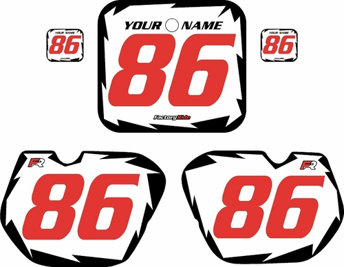 1985-1986 Honda CR250 Pre-Printed Backgrounds White - Black Shock - Red Numbers by FactoryRide