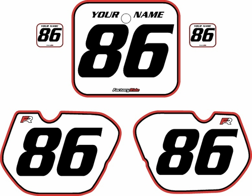 1985-1986 Honda CR250 Pre-Printed Backgrounds White - Red Pro Pinstripe by FactoryRide