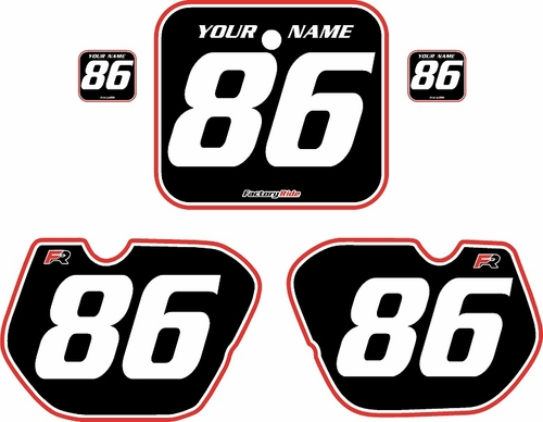 1985-1986 Honda CR250 Pre-Printed Backgrounds Black - Red Pro Pinstripe by FactoryRide