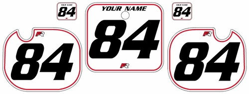 1984 Honda CR500 Pre-Printed Backgrounds White - Red Pinstripe by FactoryRide