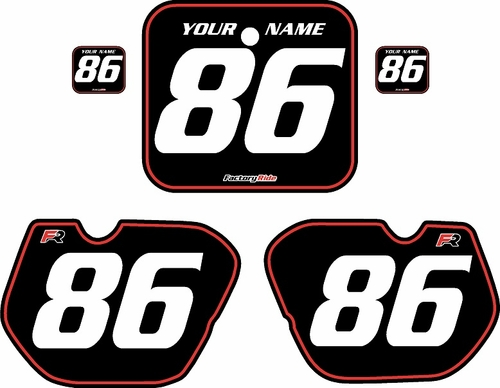 1985-1986 Honda CR250 Pre-Printed Backgrounds Black - Red Pinstripe by FactoryRide