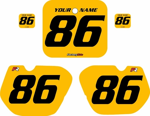 1985-1986 Honda CR250 Pre-Printed Backgrounds Yellow - Black Numbers by FactoryRide