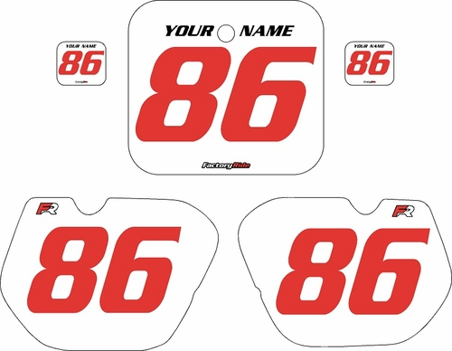 1985-1986 Honda CR250 Pre-Printed Backgrounds White - Red Numbers by FactoryRide
