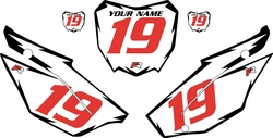 2019-2021 Honda CRF110 White Pre-Printed Backgrounds - Black Shock - Red Number by FactoryRide