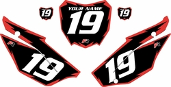 2019-2021 Honda CRF110 Black Pre-Printed Backgrounds - Red Shock by FactoryRide