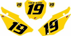 2019-2021 Honda CRF110 Yellow Pre-Printed Backgrounds - Black Numbers by FactoryRide