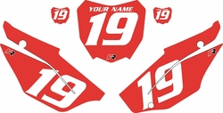 2019-2021 Honda CRF110 Red Pre-Printed Backgrounds - White Numbers by FactoryRide