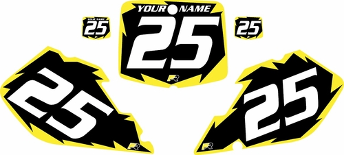 1999-2000 Suzuki RM125 Pre-Printed Backgrounds Black - Yellow Shock Series by FactoryRide