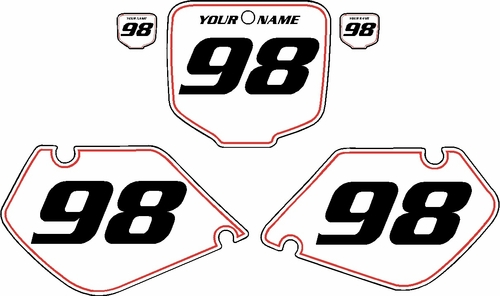 1997-1999 Honda CR250 Pre-Printed Backgrounds White - Red Pinstripe by FactoryRide