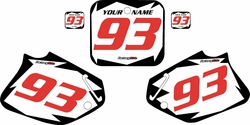 1993-1994 Honda CR125 Pre-Printed Backgrounds White - Black Shock - Red Numbers by FactoryRide