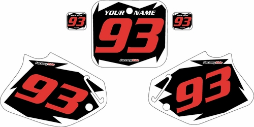 1993-1994 Honda CR125 Pre-Printed Backgrounds Black - White Shock - Red Numbers by FactoryRide