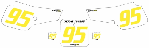 1995-1999 Suzuki RM80 Pre-Printed Backgrounds White - Yellow Numbers by FactoryRide