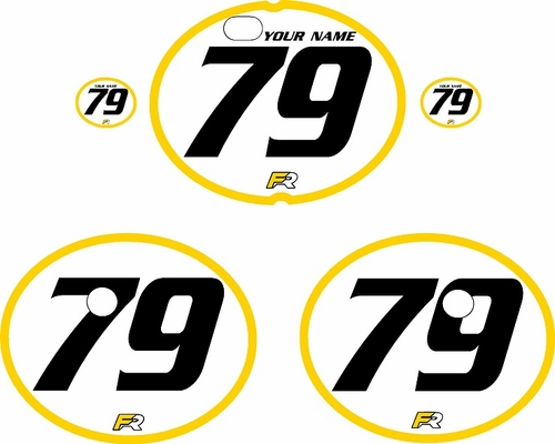 1979-1980 Suzuki RM250 White Pre-Printed Backgrounds - Yellow Bold Pinstripe by FactoryRide