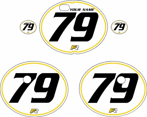 1979-1980 Suzuki RM250 White Pre-Printed Backgrounds - Yellow Pinstripe by FactoryRide